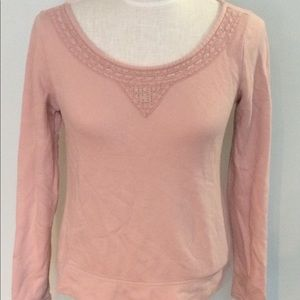 Banana Republic boho rose pink crochet sweatshirt